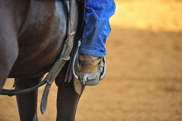 Rider foot in the stirrup