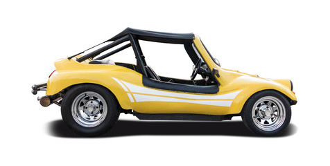Yellow Dune buggy side view isolated on white