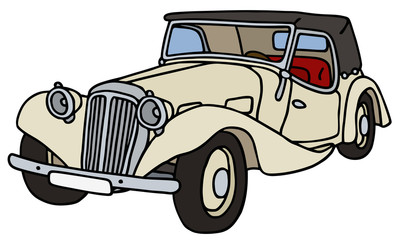 Papiers peints Cartoon voitures Vintage light cabriolet, hand drawn vector illustration