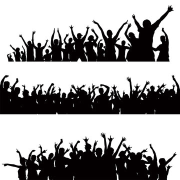crowd celebrating silhouette vector