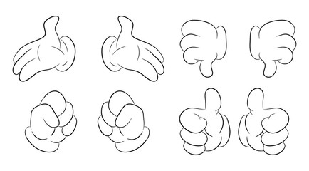 Image of cartoon human hand gesture set. Vector illustration isolated on white background.
