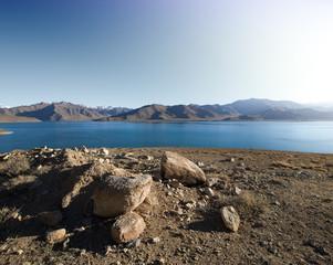 View on lake in spring season in Pamir mountains . Tajikistan. S