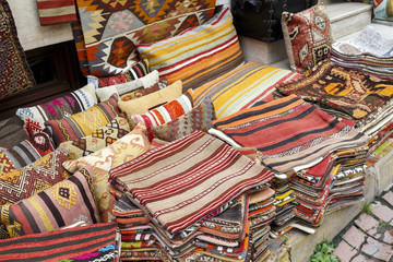Traditional cushions and carpets in street,Istanbul