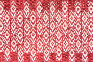 ethnic ornament on natural linen textile