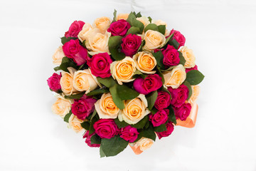 deluxe bouquet of red and orange roses in the shape of sphere