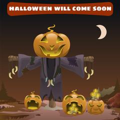 Scarecrow smile head pumpkin