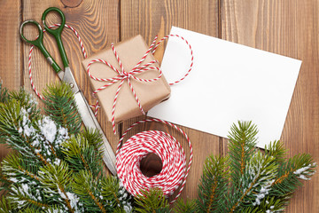 Christmas presents wrapping and snow fir tree