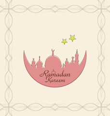 Creative Celebration Card with Architecture for Ramadan Kareem