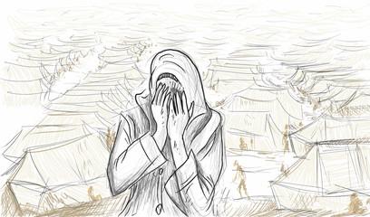 Syrienne en pleurs et camp de réfugiés syriens en arrière-plan