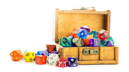 Wooden chest overflows with dice