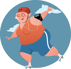 Happy confident overweight lady in a helmet with a smartphone riding roller skates, vector illustration, EPS 8, no transparencies