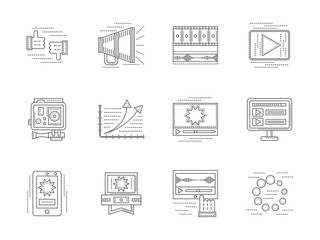Linear vector icons set for video blogging