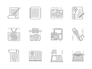 Linear vector icons set for media publishing