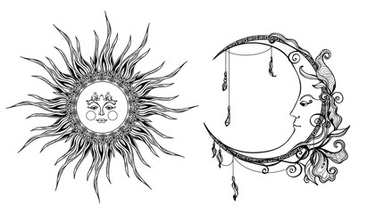 Decorative Sun And Moon