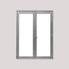 White metal door isolated on grey background