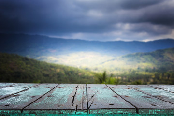 Empty top wooden table and view of mountain