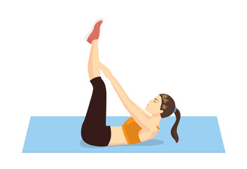 Healthy woman abdominal exercises with lying on floor and lifting hand touch her toe
