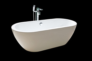 Close new white bathtub isolated on black