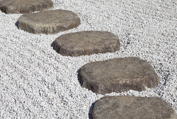 Zen stone path in a Japanese Garden..