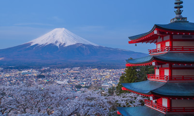 Photo sur Aluminium Japon Mountain Fuji and red pagoda in cherry blossom sakura season