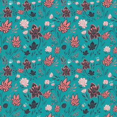Hand drawn seamless pattern with abstract flowers .