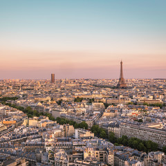 Sunset over Paris with Eiffel Tower, France