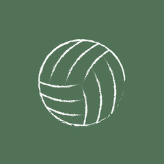 Volleyball ball icon drawn in chalk.