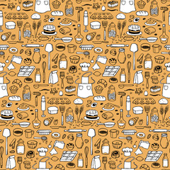 Seamless hand drawn doodle pattern with bakery elements