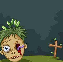 Zombie head on the ground