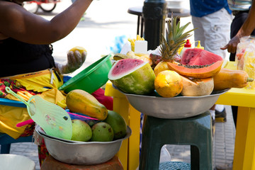 fresh fruit at a traditional cartagena street vendors store