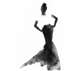 Fototapete - woman with elegant dress .abstract watercolor .fashion background