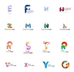 Set of colorful abstract letter corporate logos created with