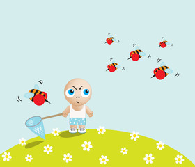 Little cartoon boy standing with a butterfly net in hand against angry bees, vector illustration