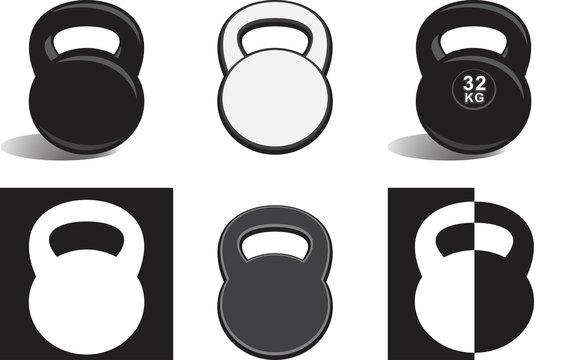 Monochrome kettle bells on white background (vector illustration)