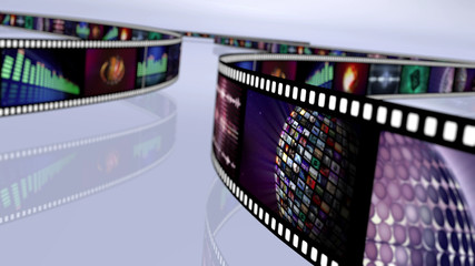 Film reel with stock market images