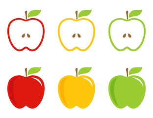 Yellow, green and red stylized apples.