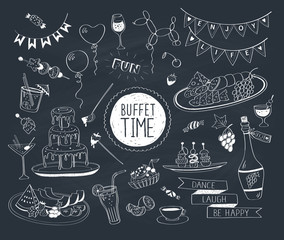 Buffet party doodle set. Hand drawn beverages icons isolated on white background. Doodle food and drinks. Chocolate fountain, fruit, bottle, tea, coffee, snacks.