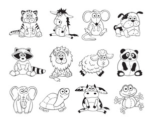 Cute cartoon animals isolated on white background. Stuffed toys set. Cartoon animals outline collection.