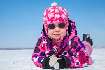 little girl on snow