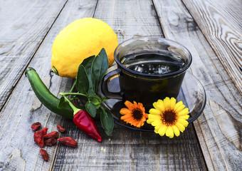 Warm tea,lemon, peppers, marigold, natural remedies vs pills
