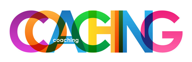 """COACHING"" multicoloured letters vector icon"