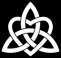 3 point Celtic Trinity knot (Triquetra) interlaced with a heart for your logo, design or project (vector illustration)