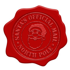 Santa's official mail red wax seal isolated on white background, vector illustration