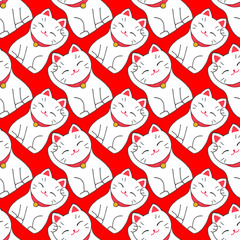 Maneki-neko. Seamless pattern with japanese lucky welcoming cat