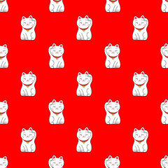 Maneki-neko. Seamless pattern with japanese lucky welcoming cat