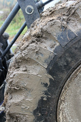 Tractor wheel with forest mud