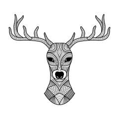Deer head stylized in zentangle style. Tribal tattoo design. Vector illustration