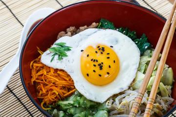 bibimbap with sunny egg, korean dish