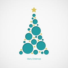 Christmas tree with dots and stars on white background. Vector
