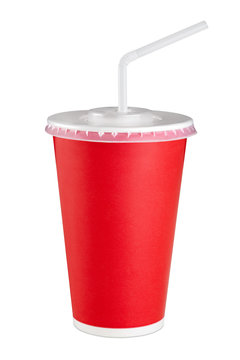 Red paper cup isolated on white background.